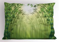 Bambu Ormanı Desenli Yastık Kılıfı Sarı Yeşil
