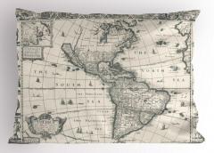 Antik Amerika Haritası Yastık Kılıfı Şık