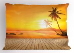 Adada Gün Batımı Yastık Kılıfı Tropikal Ada Turuncu