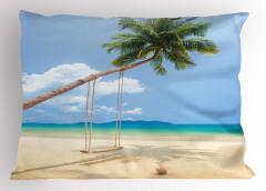 Issız Ada Yastık Kılıfı Tropikal Egzotik Mavi