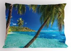Tropik Adadaki Palmiye Yastık Kılıfı Palmiye Mavi Yeşil