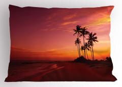 Tropik Adada Gün Batımı Yastık Kılıfı Okyanus