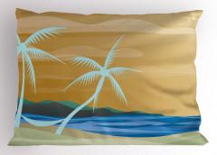 Palmiye ve Kumsal Yastık Kılıfı Modern