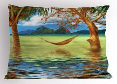Palmiye ve Hamak Yastık Kılıfı Deniz