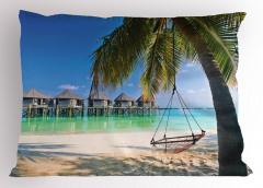 Deniz ve Palmiye Temalı Yastık Kılıfı Egzotik