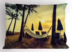 Plaj ve Hamak Desenli Yastık Kılıfı Palmiyeli