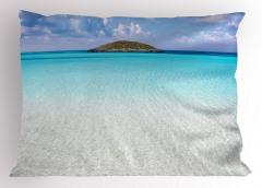 Ada Desenli Yastık Kılıfı Okyanus Mavi