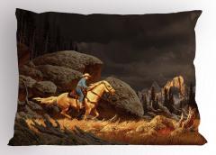 Atlı Kovboy Yastık Kılıfı Atlı Kovboy Kahverengi