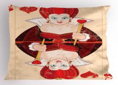 İskambil Kağıdı Desenli Yastık Kılıfı Kırmızı