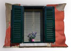 Çiçekli Pencere Temalı Yastık Kılıfı Ahşap Bina