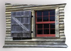 Antik Ahşap Pencereli Yastık Kılıfı Kahverengi