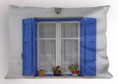 Mavi Pencere Temalı Yastık Kılıfı Çiçekli Ahşap