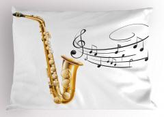Müzik Temalı Yastık Kılıfı Nota Saksafon Beyaz