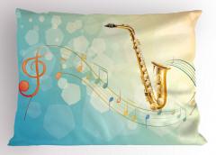 Rengarenk Müzik Temalı Yastık Kılıfı Notalar