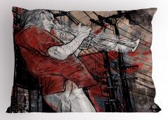 Müzisyen Temalı Yastık Kılıfı Müzik Caz Trompet