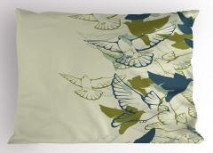 Yeşil Kuş Desenli Yastık Kılıfı Şık Tasarım