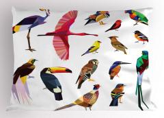 Rengarenk Kuşlar Temalı Yastık Kılıfı Çeyizlik