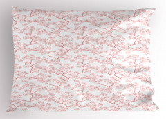 Kiraz Çiçeği Desenli Yastık Kılıfı Pembe Trend