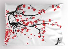 Kiraz Çiçeği Temalı Yastık Kılıfı Çeyizlik Şık