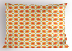 Retro Geometrik Desenli Yastık Kılıfı Kırmızı