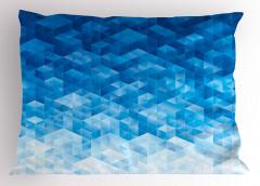 Mavi Geometrik Desenli Yastık Kılıfı Şık Model