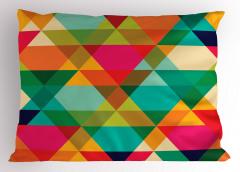 Rengarenk Üçgen Desenli Yastık Kılıfı Geometrik