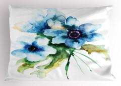Mavi Çiçekler Desenli Yastık Kılıfı Sulu Boya
