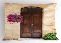 Kapı ve Mor Çiçek Yastık Kılıfı Nostaljik