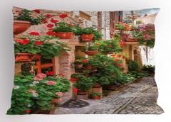 Taş Ev ve Çiçek Temalı Yastık Kılıfı Nostaljik