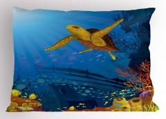 Gemi ve Kaplumbağa Yastık Kılıfı Deniz