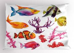 Balıklar ve Mercan Yastık Kılıfı Beyaz