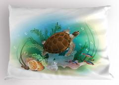 Turkuaz Deniz Desenli Yastık Kılıfı Kaplumbağalı