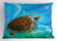 Deniz Kaplumbağası Yastık Kılıfı Mavi