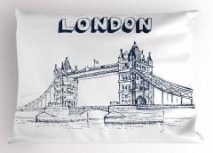 Nostaljik Köprü Desenli Yastık Kılıfı Londra