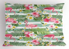 Flamingo Tropikal Çiçek Yastık Kılıfı Flamingo ve Tropikal Çiçekler