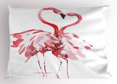 Flamingoların Aşkı Yastık Kılıfı Romantik Kırmızı