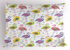 Rengarenk Flamingolar Yastık Kılıfı Yeşil Sarı