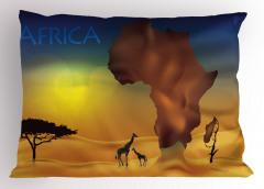 Zürafa ve Afrika Yastık Kılıfı Safari