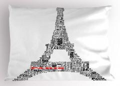 Eyfel Kulesi Yastık Kılıfı Eyfel Kulesi Siyah Beyaz