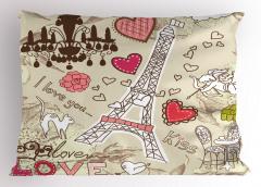 Eyfel'de Aşk Yastık Kılıfı Eyfel Bej Pembe