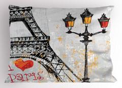 Paris Işıkları Yastık Kılıfı Eyfel Kulesi Gri Sarı