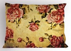 Nostaljik Güller Yastık Kılıfı Romantik Pembe Gül Desenli