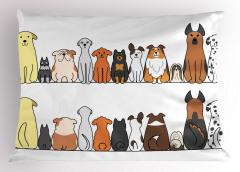 Sevimli Köpek Desenli Yastık Kılıfı Kahverengi