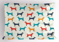 Rengarenk Köpek Desenli Yastık Kılıfı Kırmızı Lacivert