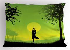 Gün Doğumunda Yoga Yastık Kılıfı Yeşil Sarı