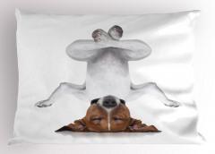 Meditasyon Yapan Köpek Yastık Kılıfı Meditasyon Beyaz