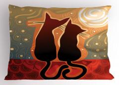 Aşık Kedi Yastık Kılıfı Gün Batımı Aşık Kedi Desenli