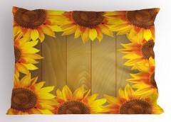 Ahşap Fonlu Ayçiçeği Yastık Kılıfı Sarı