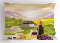 Şarap ve Dağ Manzaralı Yastık Kılıfı Yeşil Mor