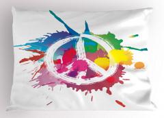 Rengarenk Barış Temalı Yastık Kılıfı Sulu Boya